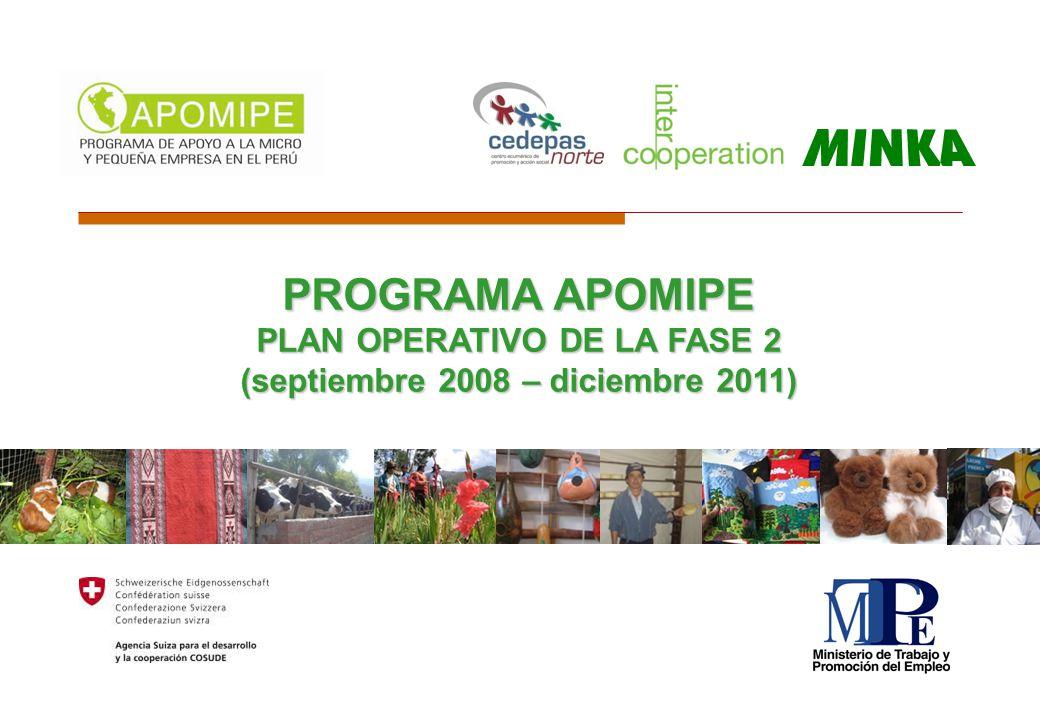 PROGRAMA APOMIPE PLAN OPERATIVO DE LA FASE 2 (septiembre 2008 – diciembre 2011)