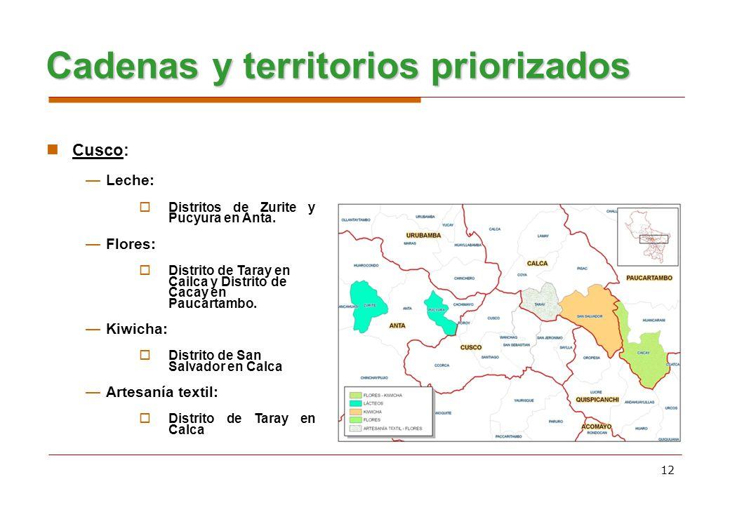 12 Cadenas y territorios priorizados Cusco: Leche: Distritos de Zurite y Pucyura en Anta. Flores: Distrito de Taray en Cailca y Distrito de Cacay en P