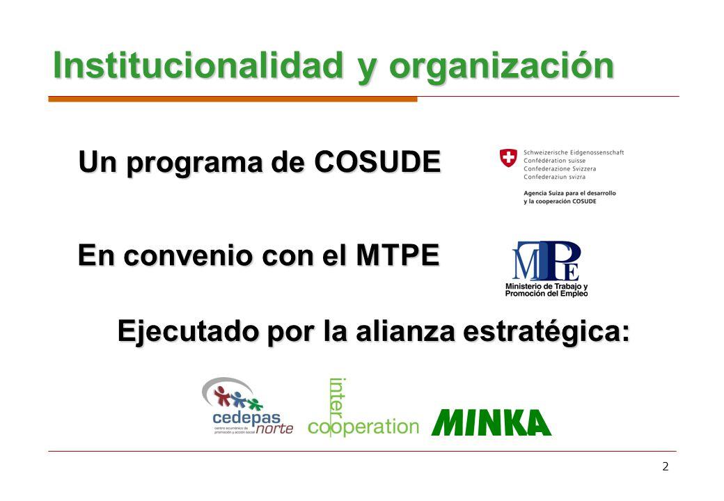 2 Institucionalidad y organización Un programa de COSUDE Ejecutado por la alianza estratégica: En convenio con el MTPE