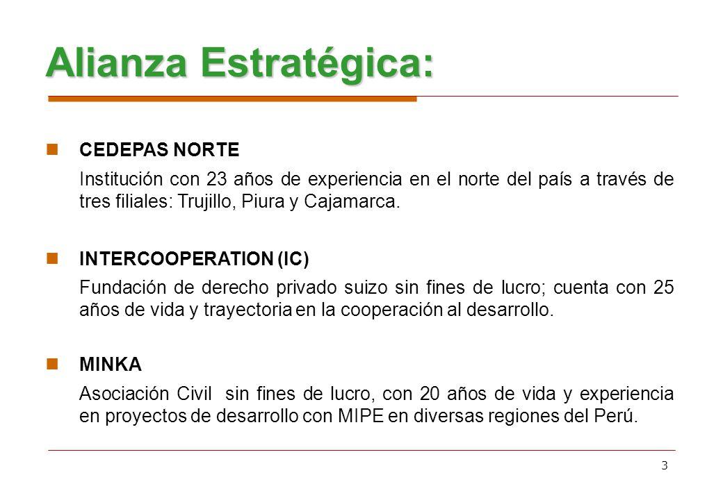 3 Alianza Estratégica: CEDEPAS NORTE Institución con 23 años de experiencia en el norte del país a través de tres filiales: Trujillo, Piura y Cajamarc