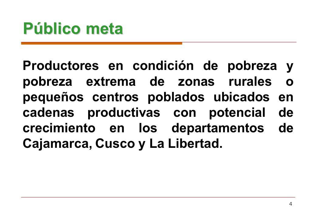 4 Productores en condición de pobreza y pobreza extrema de zonas rurales o pequeños centros poblados ubicados en cadenas productivas con potencial de