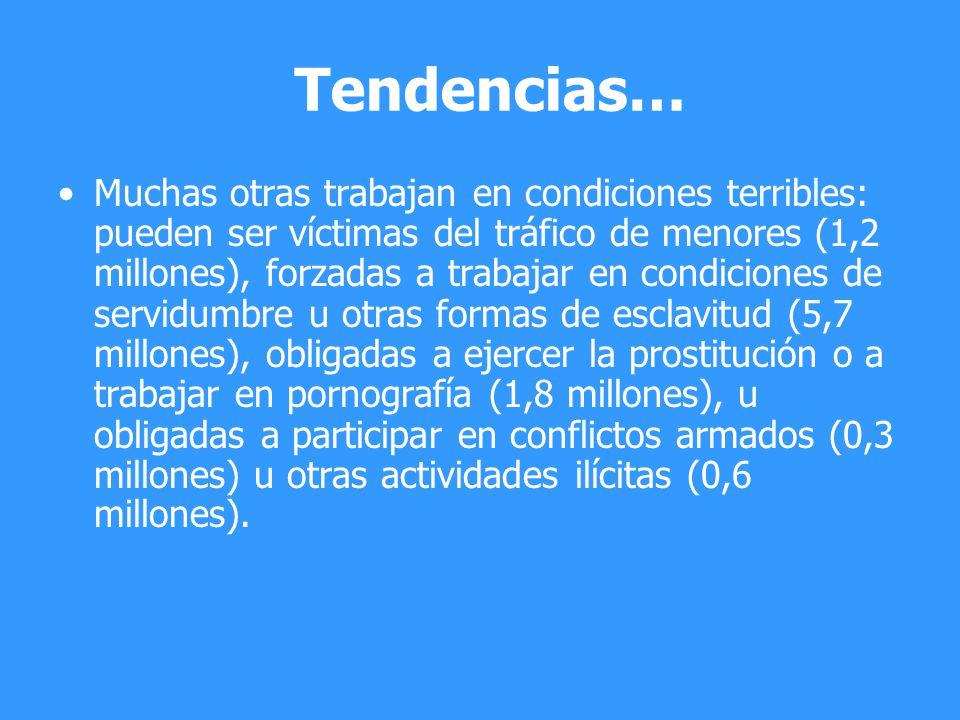 Tendencias… Muchas otras trabajan en condiciones terribles: pueden ser víctimas del tráfico de menores (1,2 millones), forzadas a trabajar en condicio
