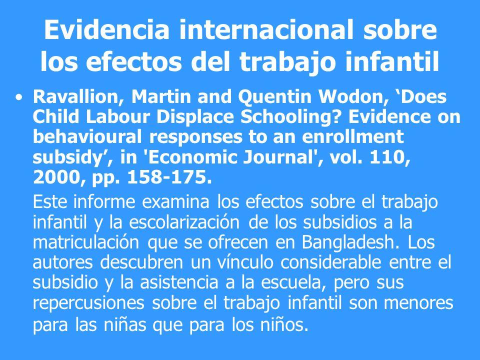 Evidencia internacional sobre los efectos del trabajo infantil Ravallion, Martin and Quentin Wodon, Does Child Labour Displace Schooling? Evidence on