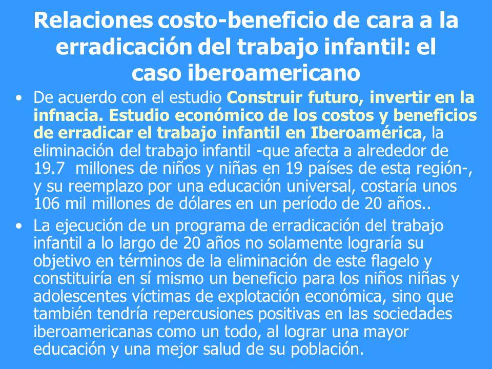 Relaciones costo-beneficio de cara a la erradicación del trabajo infantil: el caso iberoamericano De acuerdo con el estudio Construir futuro, invertir