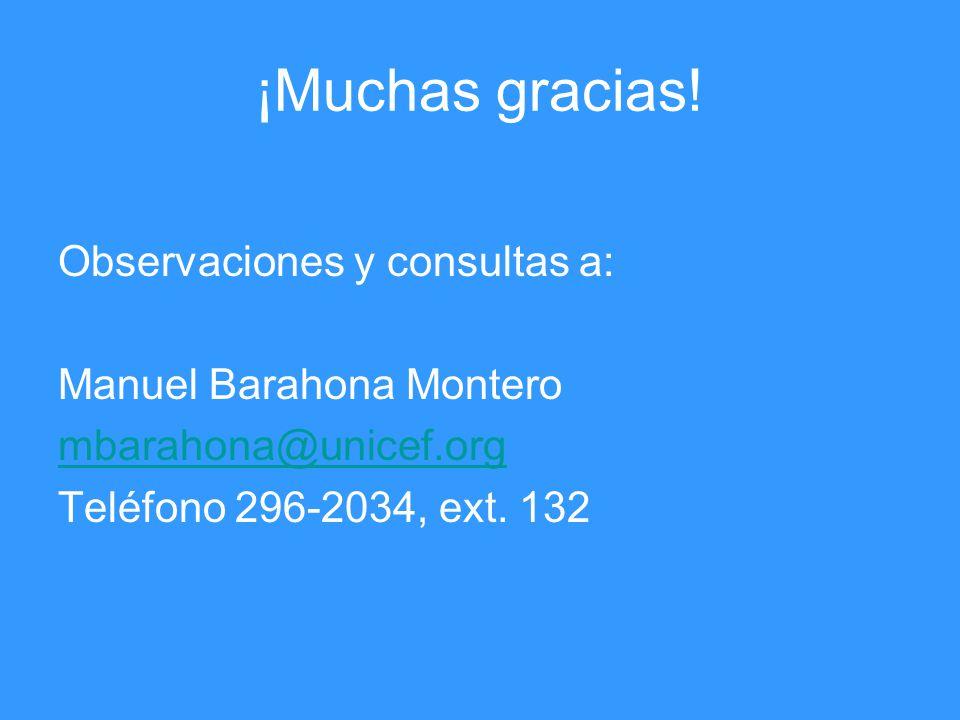 ¡Muchas gracias! Observaciones y consultas a: Manuel Barahona Montero mbarahona@unicef.org Teléfono 296-2034, ext. 132