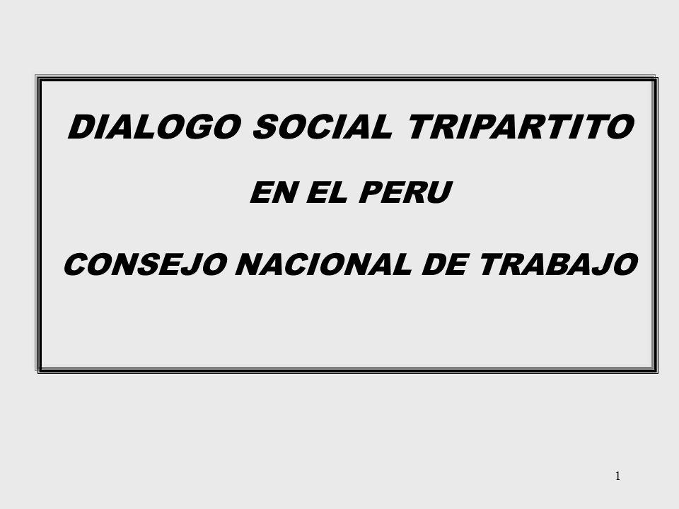 1 DIALOGO SOCIAL TRIPARTITO EN EL PERU CONSEJO NACIONAL DE TRABAJO