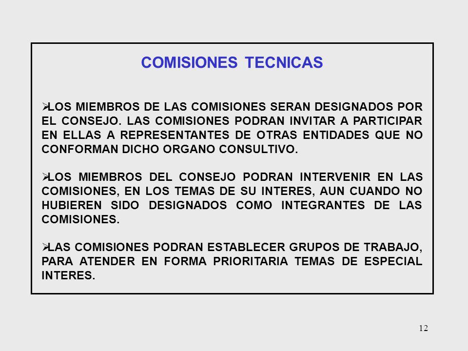 12 COMISIONES TECNICAS LOS MIEMBROS DE LAS COMISIONES SERAN DESIGNADOS POR EL CONSEJO. LAS COMISIONES PODRAN INVITAR A PARTICIPAR EN ELLAS A REPRESENT