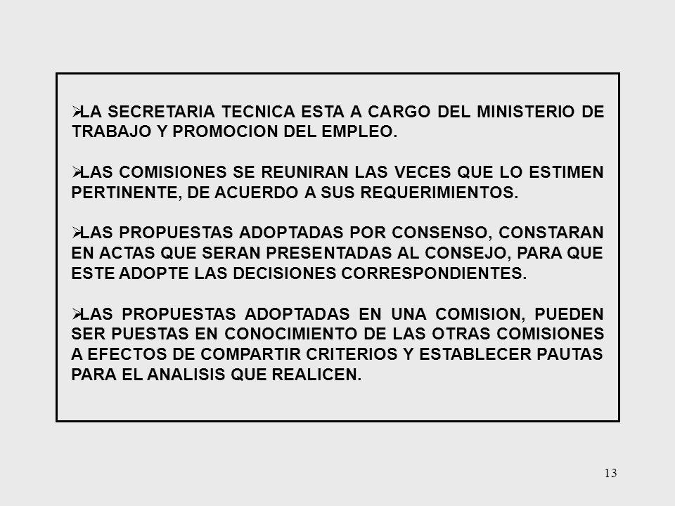 13 LA SECRETARIA TECNICA ESTA A CARGO DEL MINISTERIO DE TRABAJO Y PROMOCION DEL EMPLEO. LAS COMISIONES SE REUNIRAN LAS VECES QUE LO ESTIMEN PERTINENTE