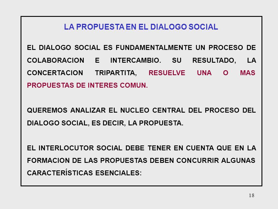 18 LA PROPUESTA EN EL DIALOGO SOCIAL EL DIALOGO SOCIAL ES FUNDAMENTALMENTE UN PROCESO DE COLABORACION E INTERCAMBIO. SU RESULTADO, LA CONCERTACION TRI