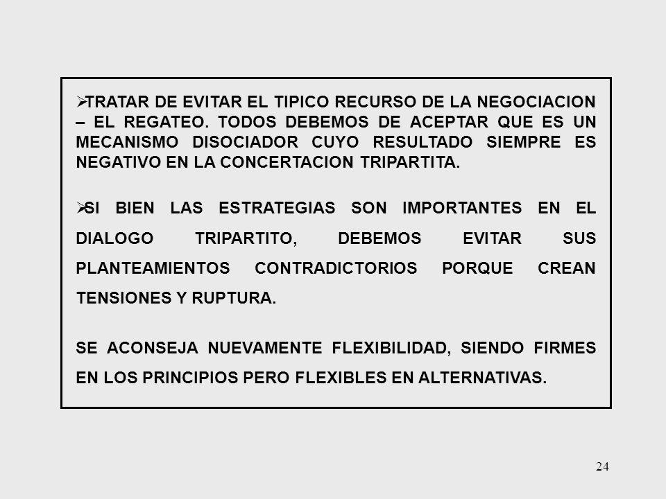 24 TRATAR DE EVITAR EL TIPICO RECURSO DE LA NEGOCIACION – EL REGATEO. TODOS DEBEMOS DE ACEPTAR QUE ES UN MECANISMO DISOCIADOR CUYO RESULTADO SIEMPRE E