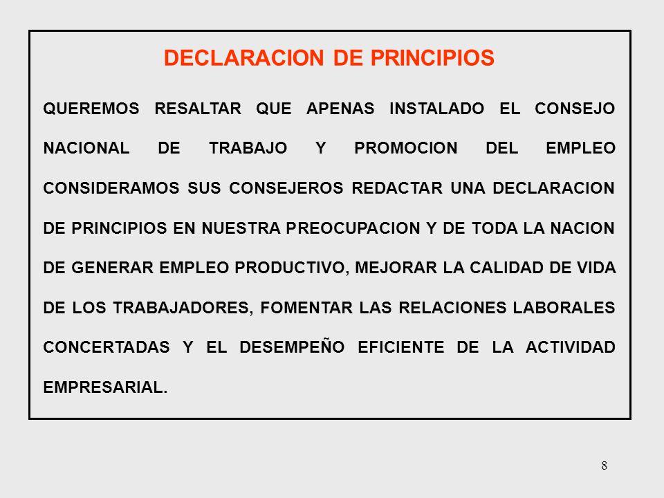 8 DECLARACION DE PRINCIPIOS QUEREMOS RESALTAR QUE APENAS INSTALADO EL CONSEJO NACIONAL DE TRABAJO Y PROMOCION DEL EMPLEO CONSIDERAMOS SUS CONSEJEROS R