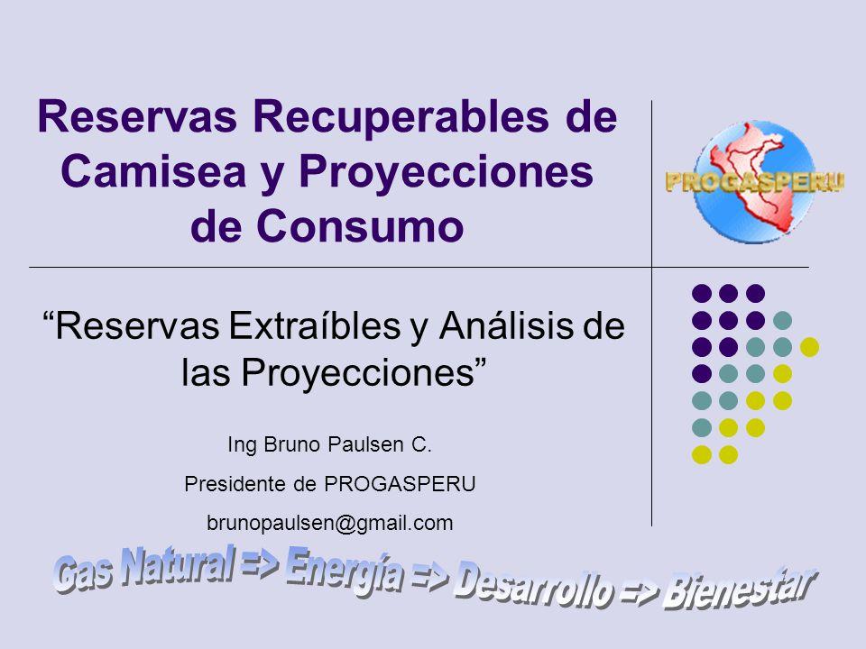 Reservas Recuperables de Camisea y Proyecciones de Consumo Reservas Extraíbles y Análisis de las Proyecciones Ing Bruno Paulsen C. Presidente de PROGA