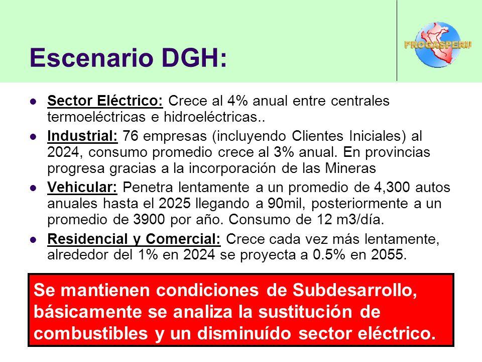 Escenario DGH: Sector Eléctrico: Crece al 4% anual entre centrales termoeléctricas e hidroeléctricas.. Industrial: 76 empresas (incluyendo Clientes In