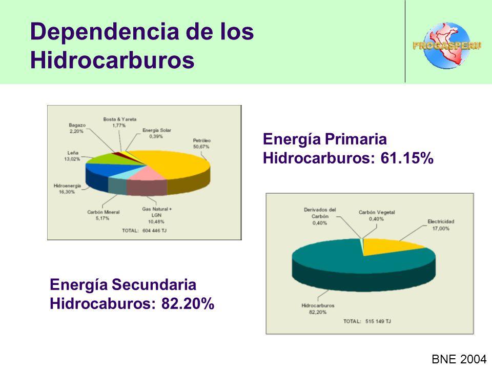 Dependencia de los Hidrocarburos BNE 2004 Energía Primaria Hidrocarburos: 61.15% Energía Secundaria Hidrocaburos: 82.20%