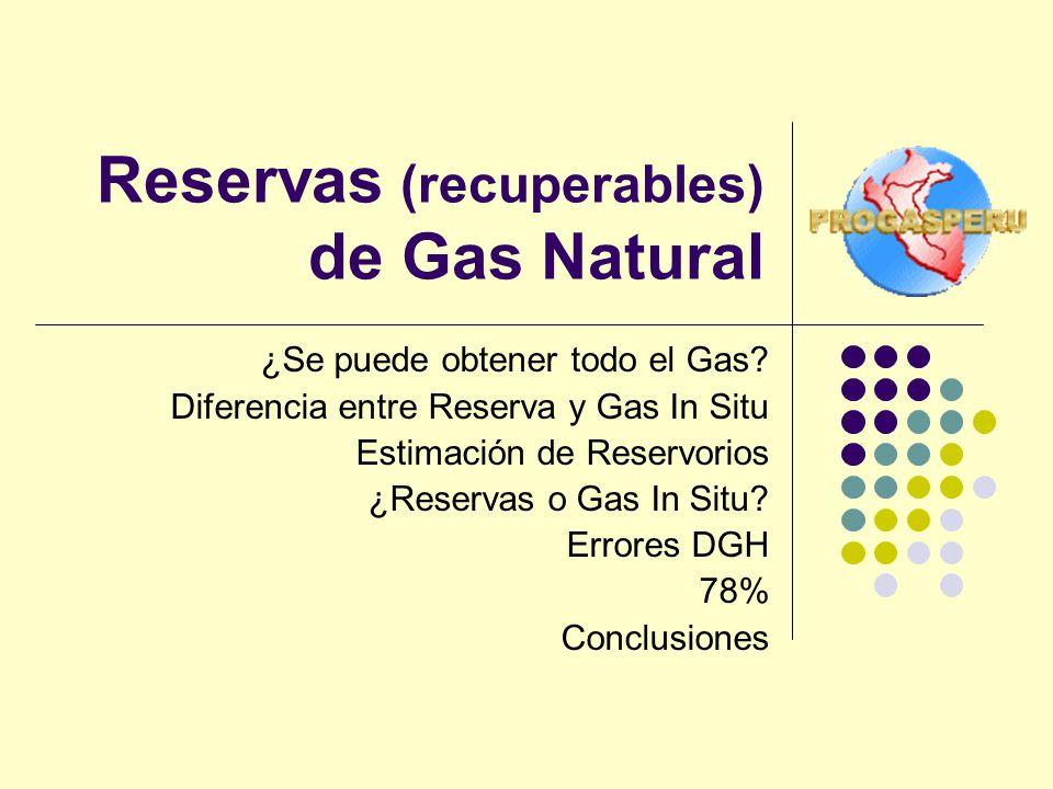 Reservas (recuperables) de Gas Natural ¿Se puede obtener todo el Gas? Diferencia entre Reserva y Gas In Situ Estimación de Reservorios ¿Reservas o Gas