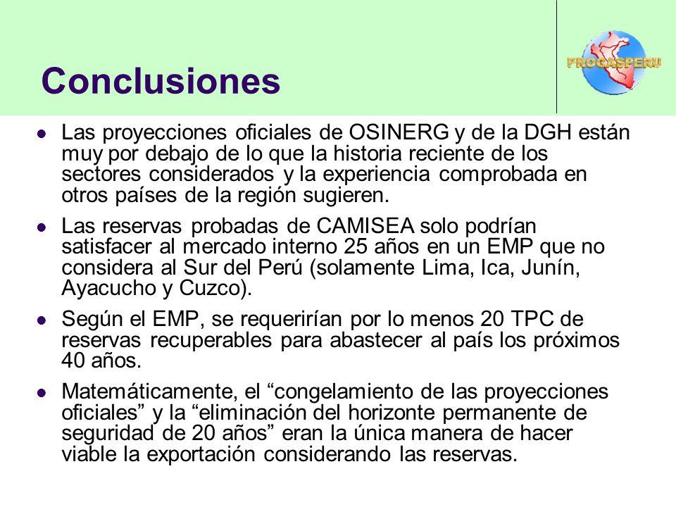 Conclusiones Las proyecciones oficiales de OSINERG y de la DGH están muy por debajo de lo que la historia reciente de los sectores considerados y la e
