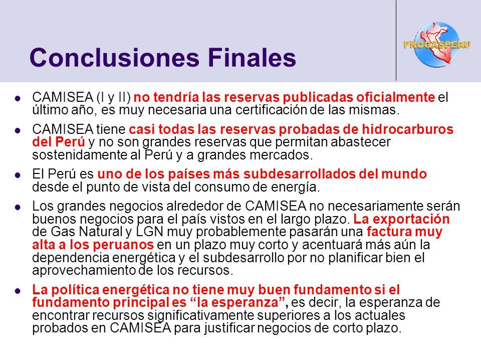 Conclusiones Finales CAMISEA (I y II) no tendría las reservas publicadas oficialmente el último año, es muy necesaria una certificación de las mismas.