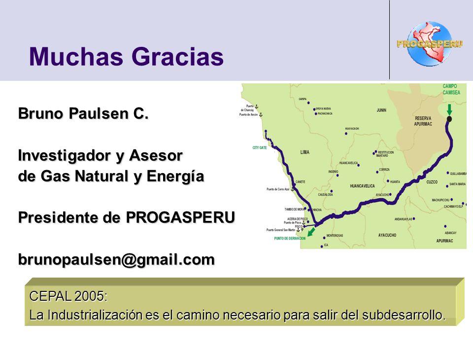 Muchas Gracias CEPAL 2005: La Industrialización es el camino necesario para salir del subdesarrollo. Bruno Paulsen C. Investigador y Asesor de Gas Nat