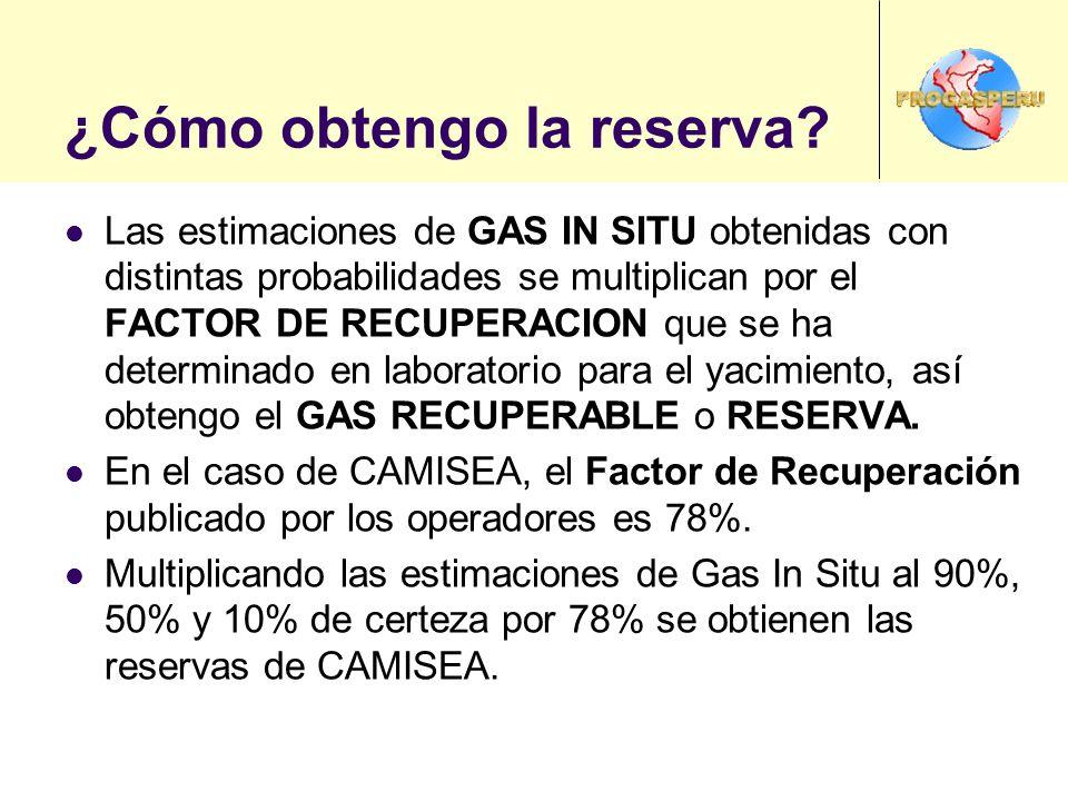 ¿Cómo obtengo la reserva? Las estimaciones de GAS IN SITU obtenidas con distintas probabilidades se multiplican por el FACTOR DE RECUPERACION que se h