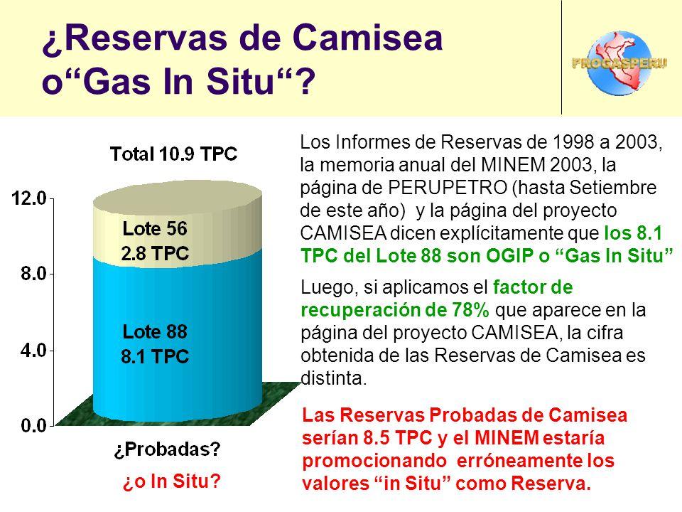 ¿Reservas de Camisea oGas In Situ? Los Informes de Reservas de 1998 a 2003, la memoria anual del MINEM 2003, la página de PERUPETRO (hasta Setiembre d