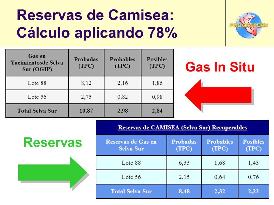 Reservas de Camisea: Cálculo aplicando 78% Gas In Situ Reservas