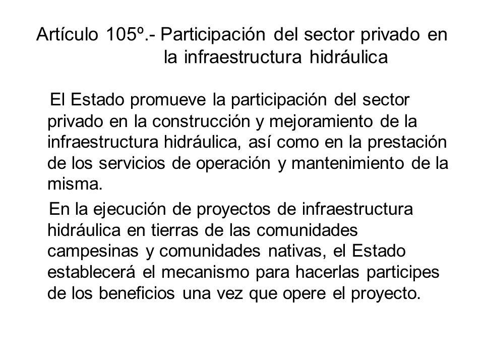 Artículo 105º.- Participación del sector privado en la infraestructura hidráulica El Estado promueve la participación del sector privado en la construcción y mejoramiento de la infraestructura hidráulica, así como en la prestación de los servicios de operación y mantenimiento de la misma.