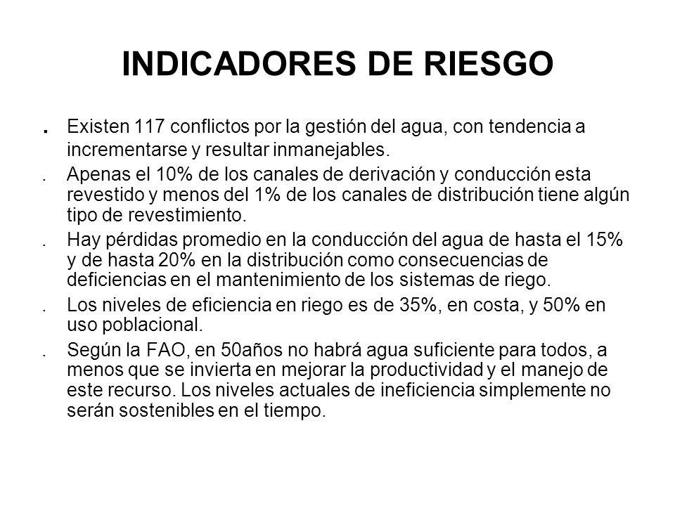 INDICADORES DE RIESGO. Existen 117 conflictos por la gestión del agua, con tendencia a incrementarse y resultar inmanejables..Apenas el 10% de los can