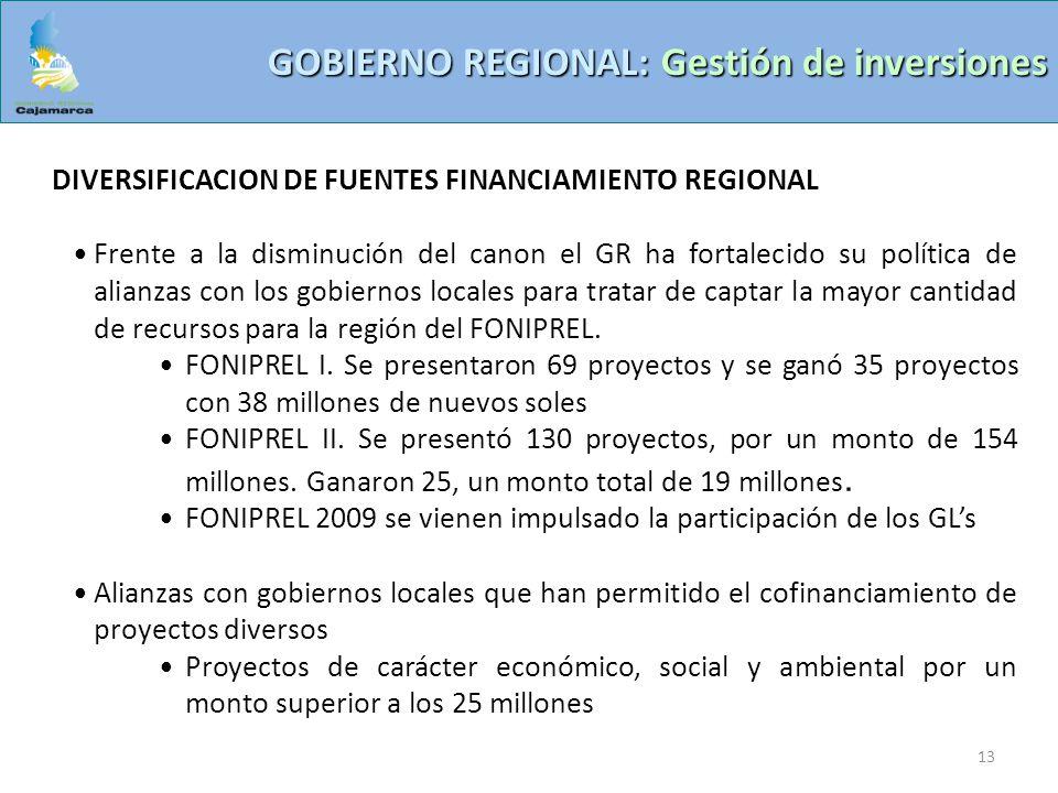 13 GOBIERNO REGIONAL: Gestión de inversiones DIVERSIFICACION DE FUENTES FINANCIAMIENTO REGIONAL Frente a la disminución del canon el GR ha fortalecido