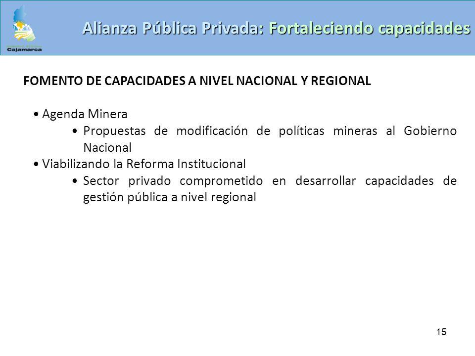 15 Alianza Pública Privada: Fortaleciendo capacidades FOMENTO DE CAPACIDADES A NIVEL NACIONAL Y REGIONAL Agenda Minera Propuestas de modificación de p
