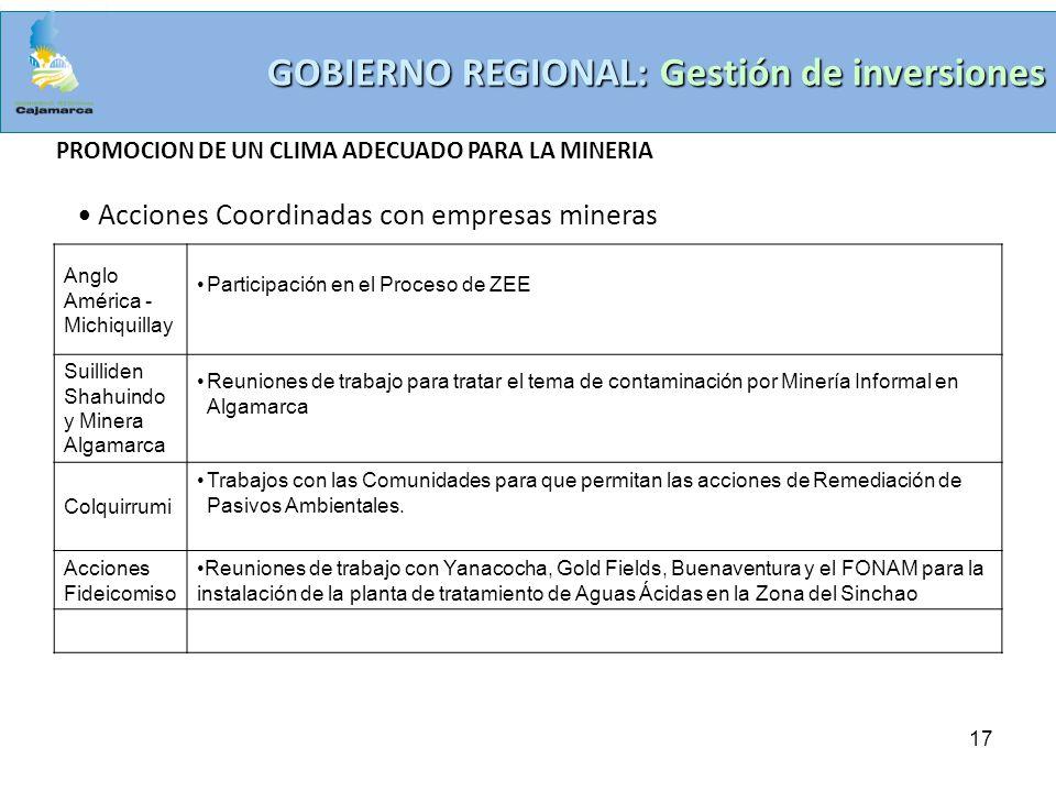 17 GOBIERNO REGIONAL: Gestión de inversiones PROMOCION DE UN CLIMA ADECUADO PARA LA MINERIA Acciones Coordinadas con empresas mineras Anglo América -