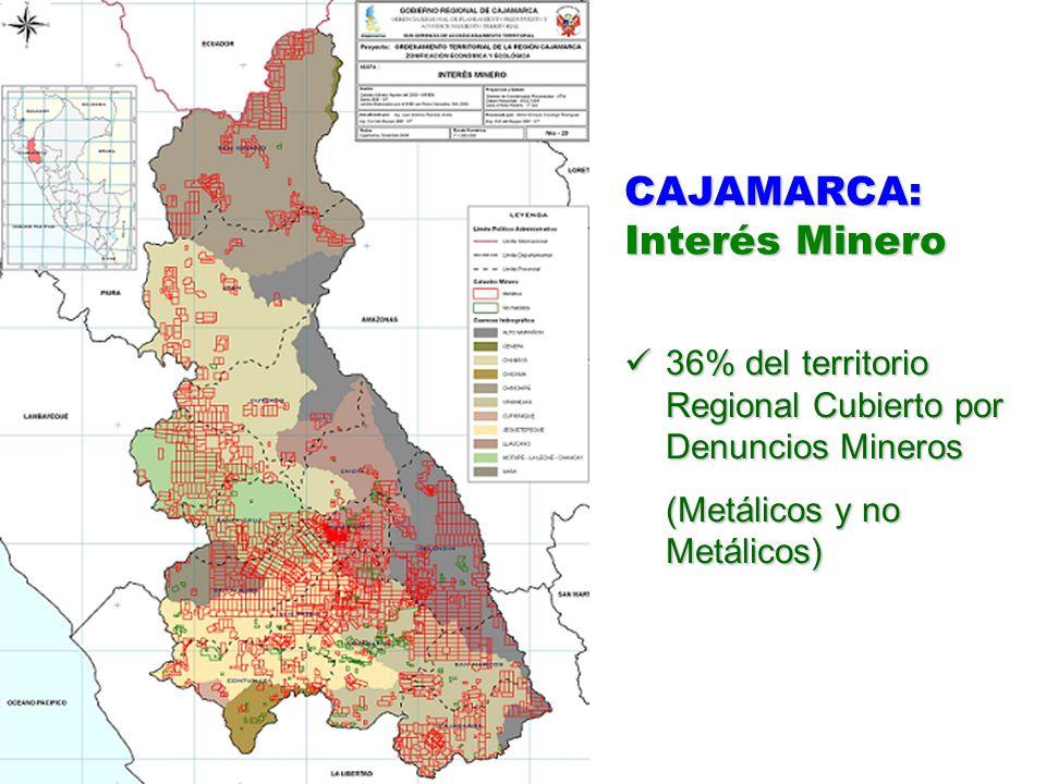 CAJAMARCA: Interés Minero 36% del territorio Regional Cubierto por Denuncios Mineros 36% del territorio Regional Cubierto por Denuncios Mineros (Metál