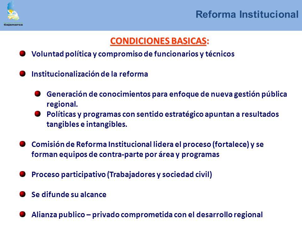 CONDICIONES BASICAS: Voluntad política y compromiso de funcionarios y técnicos Institucionalización de la reforma Generación de conocimientos para enf