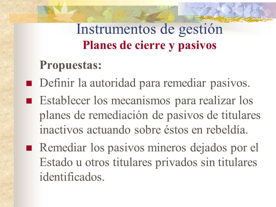 Instrumentos de gestión Planes de cierre y pasivos Propuestas: Definir la autoridad para remediar pasivos. Establecer los mecanismos para realizar los