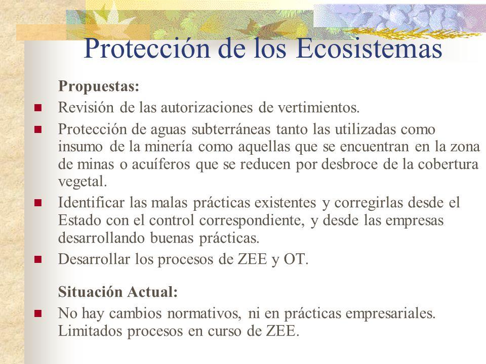 Protección de los Ecosistemas Propuestas: Revisión de las autorizaciones de vertimientos. Protección de aguas subterráneas tanto las utilizadas como i