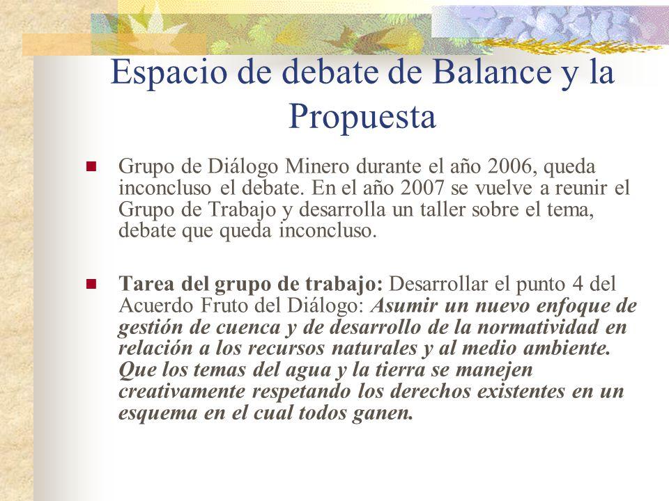 Espacio de debate de Balance y la Propuesta Grupo de Diálogo Minero durante el año 2006, queda inconcluso el debate. En el año 2007 se vuelve a reunir