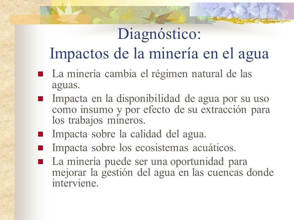 Diagnóstico: Impactos de la minería en el agua La minería cambia el régimen natural de las aguas. Impacta en la disponibilidad de agua por su uso como
