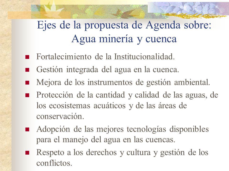 Ejes de la propuesta de Agenda sobre: Agua minería y cuenca Fortalecimiento de la Institucionalidad. Gestión integrada del agua en la cuenca. Mejora d
