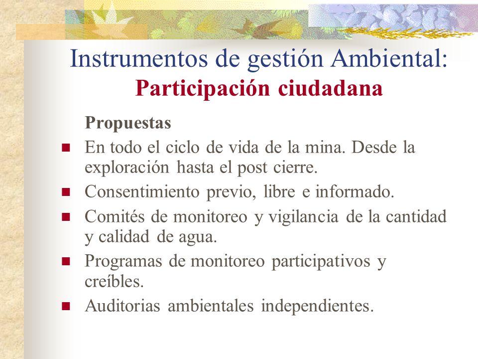 Instrumentos de gestión Ambiental: Participación ciudadana Propuestas En todo el ciclo de vida de la mina. Desde la exploración hasta el post cierre.