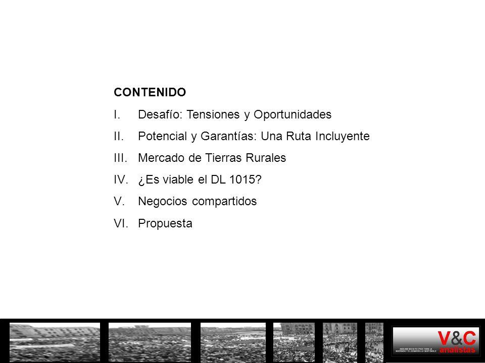 I.DESAFIO: TENSIONES Y OPORTUNIDADES Potencial minero del Perú Precios de los minerales Mayores inversiones Tensión por la demanda y uso de los recursos y los beneficios Tensión institucional y para la gobernabilidad El desafío es transformar esta tensión en oportunidad para beneficio de todos