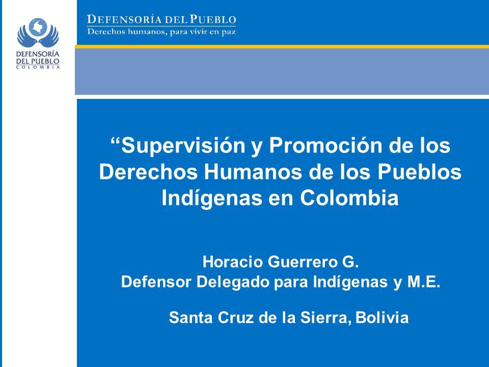 Supervisión y Promoción de los Derechos Humanos de los Pueblos Indígenas en Colombia Horacio Guerrero G. Defensor Delegado para Indígenas y M.E. Santa