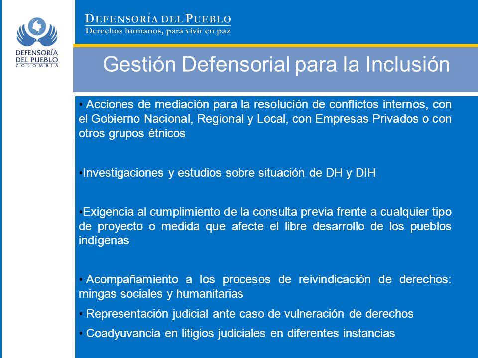 Gestión Defensorial para la Inclusión Acciones de mediación para la resolución de conflictos internos, con el Gobierno Nacional, Regional y Local, con