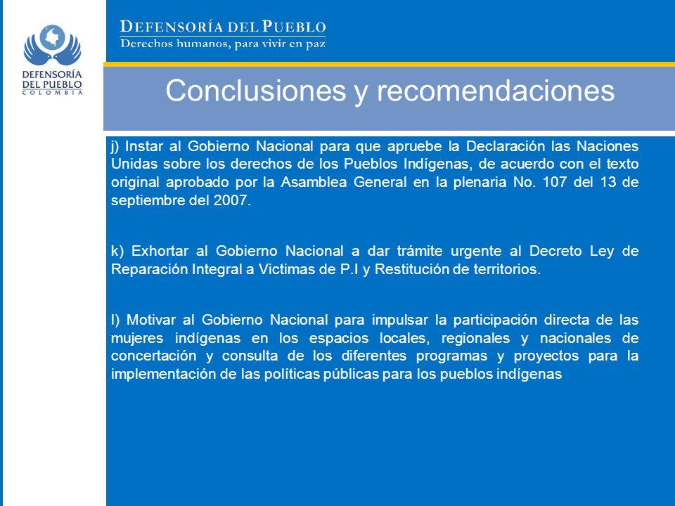Conclusiones y recomendaciones j) Instar al Gobierno Nacional para que apruebe la Declaración las Naciones Unidas sobre los derechos de los Pueblos In