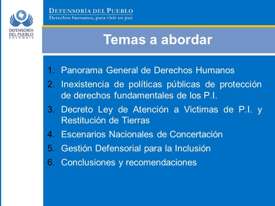 Temas a abordar 1.Panorama General de Derechos Humanos 2.Inexistencia de políticas públicas de protección de derechos fundamentales de los P.I. 3.Decr