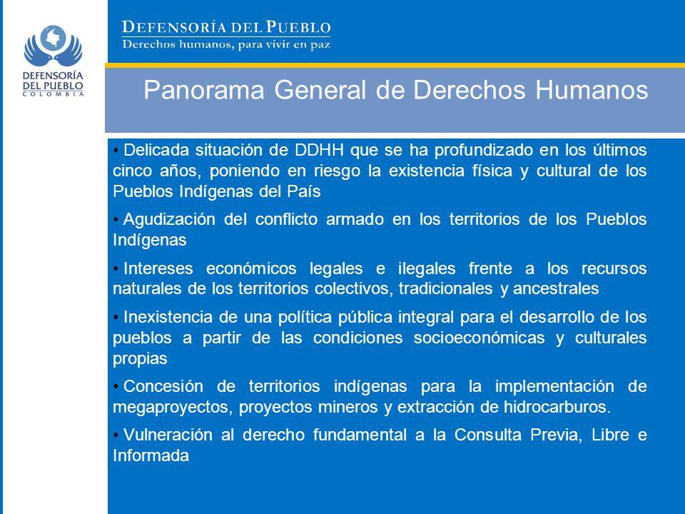 Panorama General de Derechos Humanos Responsables de las vulneraciones a los DDHH e infracciones al DIH en su mayoría grupos al margen de la ley: FARC, Grupos Paramilitares, ELN y miembros de la Fuerza Pública.