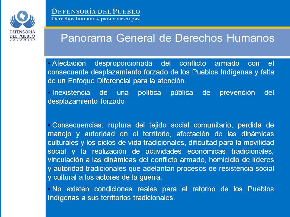 Panorama General de Derechos Humanos Afectación desproporcionada del conflicto armado con el consecuente desplazamiento forzado de los Pueblos Indígen