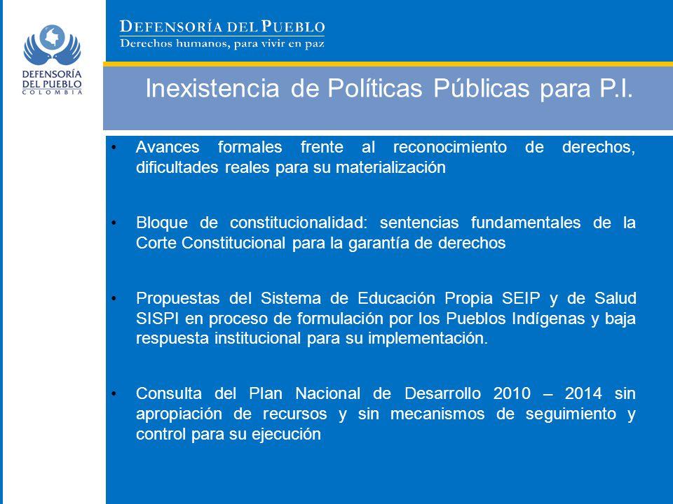 Inexistencia de Políticas Públicas para P.I. Avances formales frente al reconocimiento de derechos, dificultades reales para su materialización Bloque