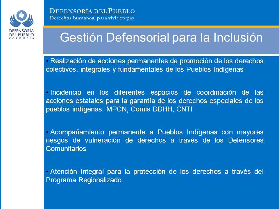 Gestión Defensorial para la Inclusión Realización de acciones permanentes de promoción de los derechos colectivos, integrales y fundamentales de los P