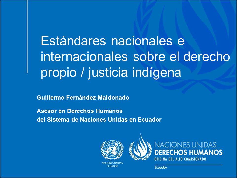 Estándares nacionales e internacionales sobre el derecho propio / justicia indígena Guillermo Fernández-Maldonado Asesor en Derechos Humanos del Siste