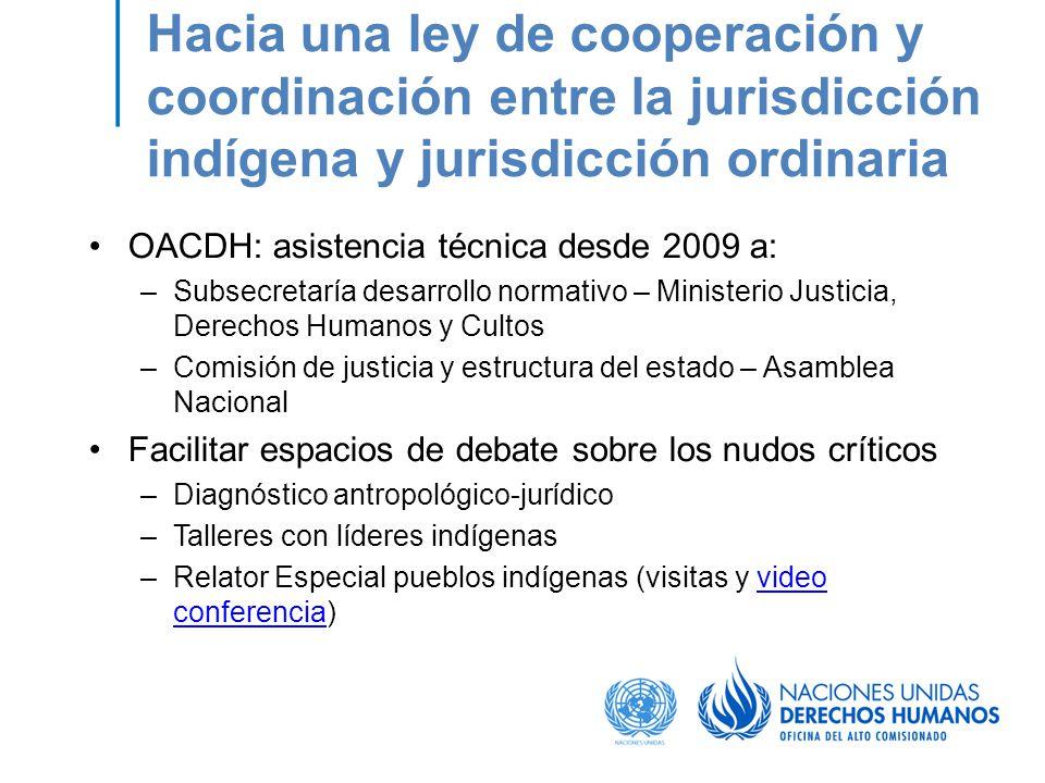Hacia una ley de cooperación y coordinación entre la jurisdicción indígena y jurisdicción ordinaria OACDH: asistencia técnica desde 2009 a: –Subsecret