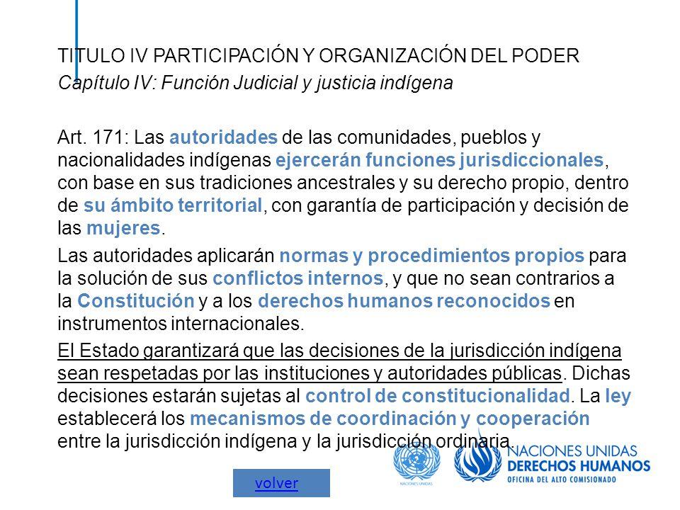 TITULO IV PARTICIPACIÓN Y ORGANIZACIÓN DEL PODER Capítulo IV: Función Judicial y justicia indígena Art. 171: Las autoridades de las comunidades, puebl